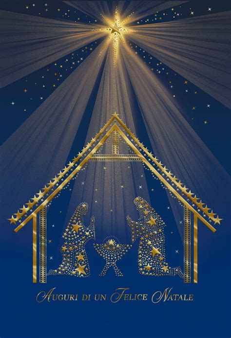 starlit nativity scene italian language christmas card