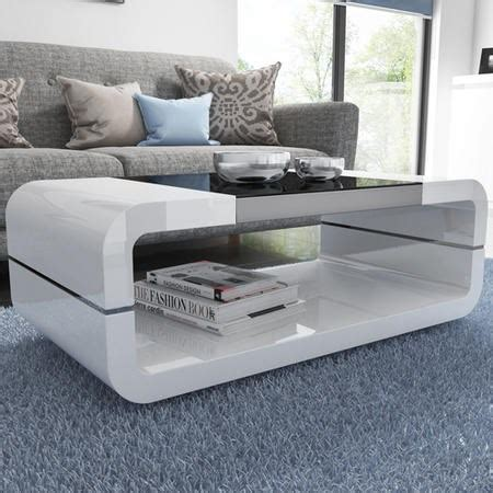high gloss white curved coffee table with black glass top