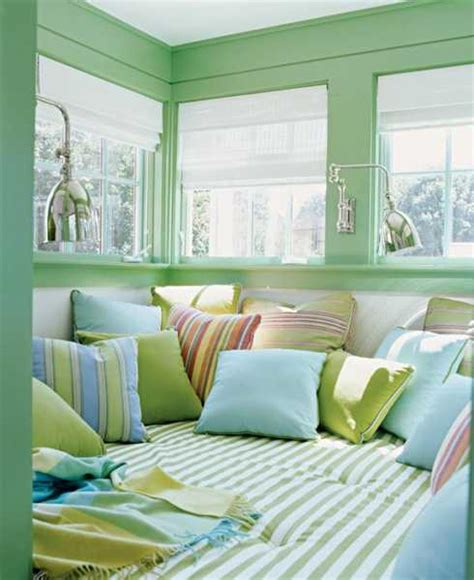 Red And White Stripe Curtains Pastel Blue And Green Colors Creating Tender And Airy