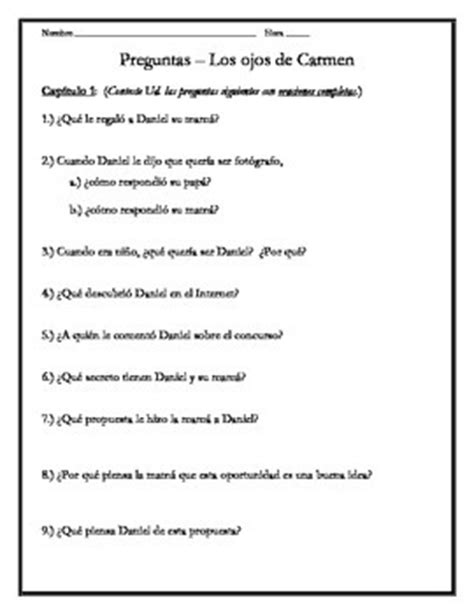 preguntas los ojos de carmen answers los ojos de carmen chapter 1 questions by save me