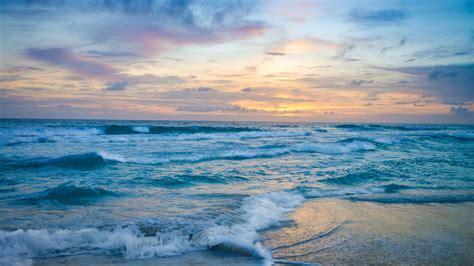 ocean waves  sunset  resolution hd