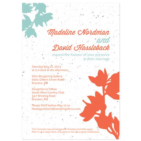 wildflower wedding invitation kits plantable modern orchids wedding invitation plantable