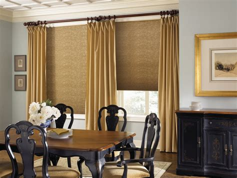 Dining Room And Living Room Curtains Northwest Window Coverings Gold Color Scheme In The Dining