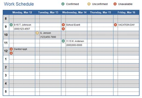 Work Schedule Template For Excel Creating A Work Schedule Template