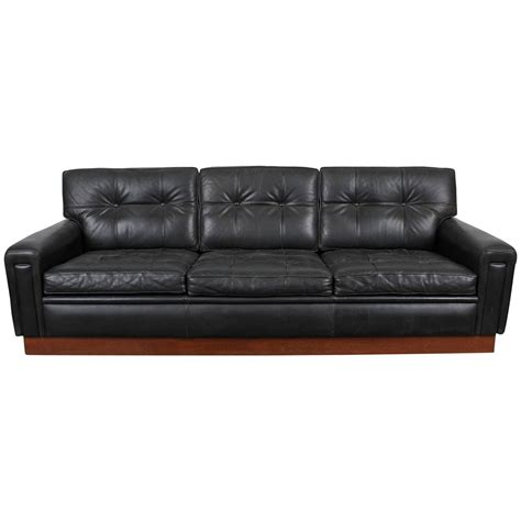 mid century modern black leather sofa by arne norell at