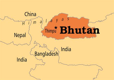 where is bhutan on a world map map of bhutan in world map