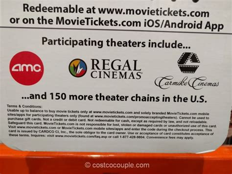 Costco Movie Gift Cards - movietickets com gift card