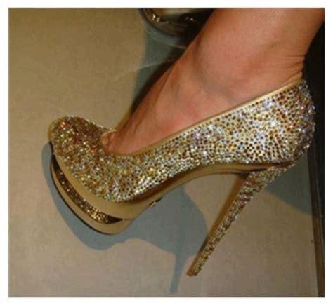 shoes gold heels prom pumps rhinestones