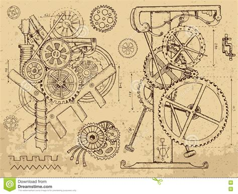 doodle mechanism mechanisms and machines in steunk style stock
