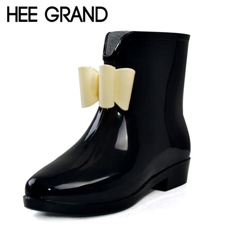 Fashion Bowknot Embellished Boots Black hee grand bow bowknot boots rubber flat heel ankle rainboots fashion galoshes