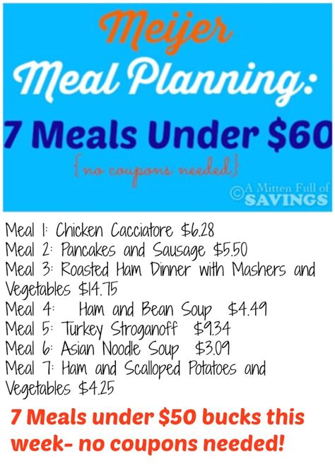 Meal Planning Coupons For Your meijer meal planning week 10 12 7 meals 50 a