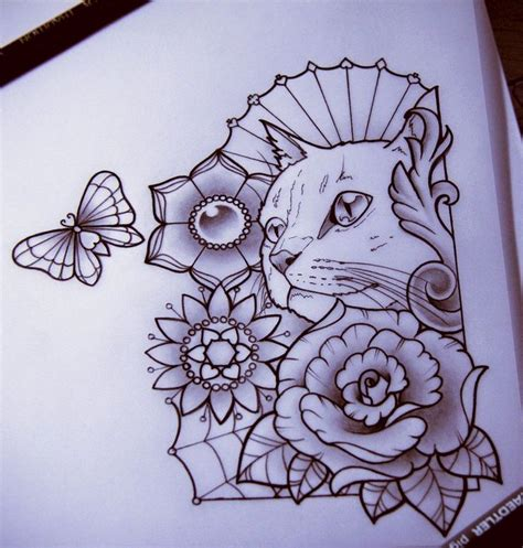 cat tattoo flash 15 best floral cat tattoos for women images on pinterest