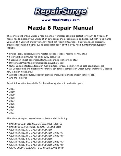 free online auto service manuals 2009 mazda rx 8 user handbook mazda 6 repair manual 2003 2011