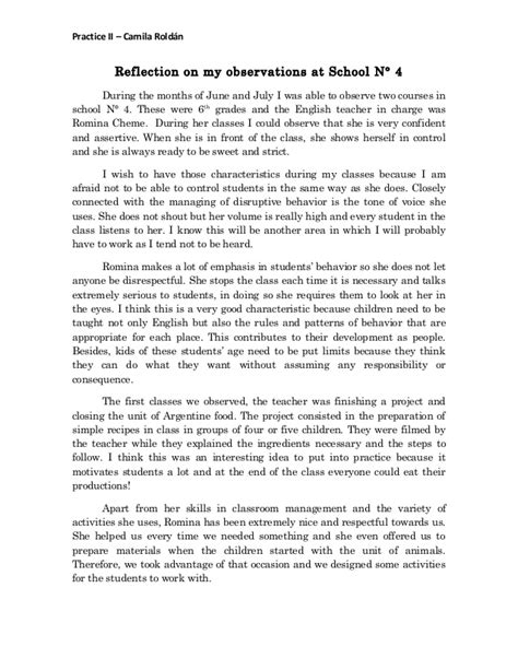 Class Observation Essay by Reflection On My Observations At School