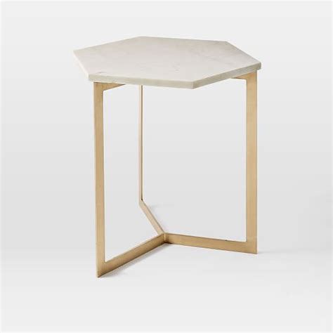 brass side table hex side table antique brass west elm