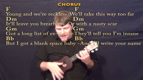 ukulele tutorial blank space blank space ukulele cover in f with chords and lyrics