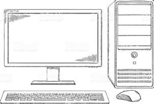 Computer Desktop Drawing Sketch Style Desktop Computer Monitor Keyboard And Mouse