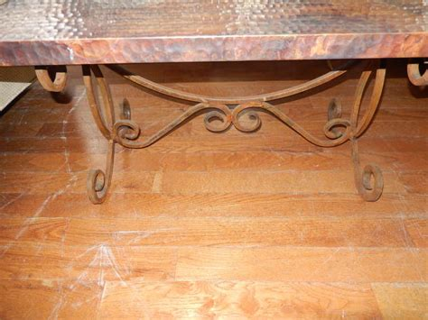 hammered copper coffee table a hammered copper and iron coffee table at 1stdibs