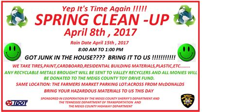spring cleaning 2017 2017 spring clean up 4 8 17 meigs county sheriff department