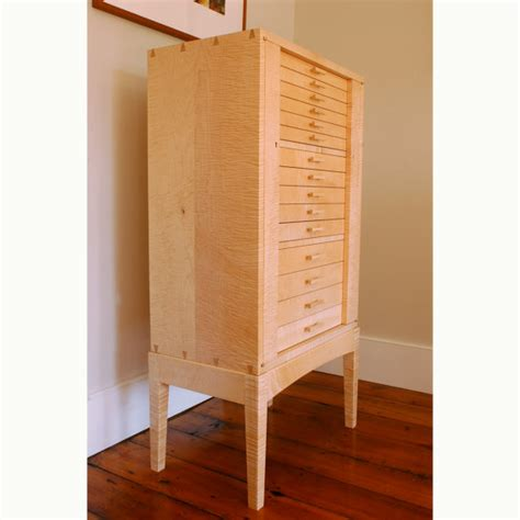 Maple Armoire Curly Sugar Maple Jewelry Armoire Cabinet