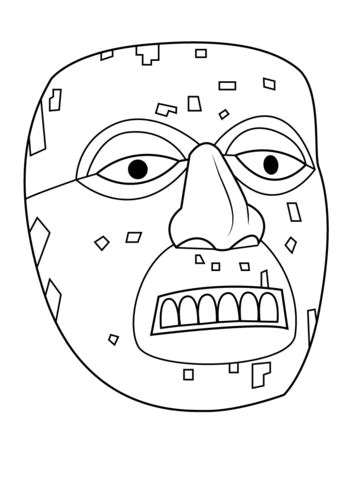 aztec mask template aztec mask of xiuhtecuhtli coloring page free printable