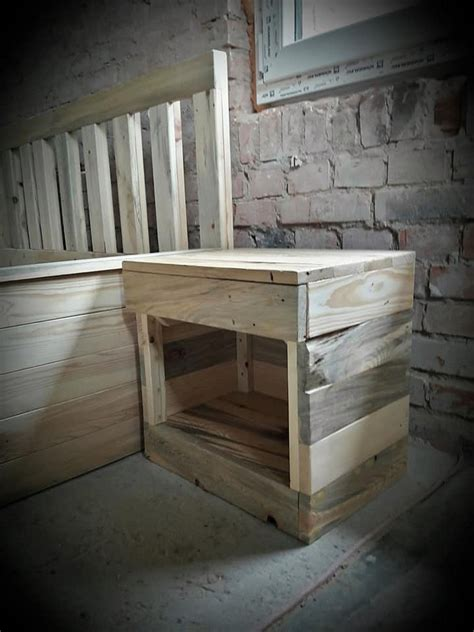 Side Bed Frame Recycled Wood Pallet Bed Frame With Side Tables Pallet Wood Projects
