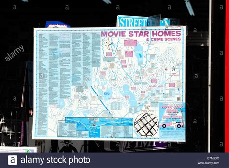 hollywood celebrity tour map shop window display map showing a tour of hollywood movie