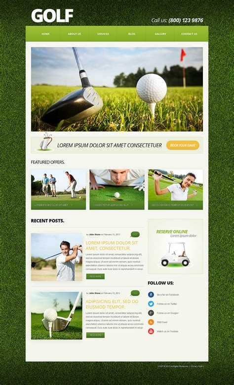 bootstrap themes free golf golf responsive joomla template 50588