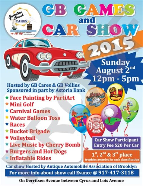 GB GAMES and CAR SHOW Sunday August 2nd 12PM to 5PM