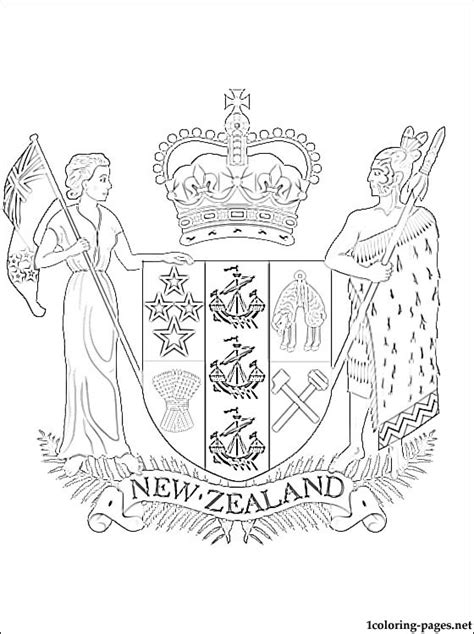 New Zealand S Coat Of Arms Coloring Page Coloring Pages New Zealand Flag Coloring Page