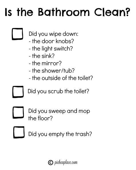 bathroom chart teaching kids to clean the bathroom free printable bathroom cleaning chart for kids