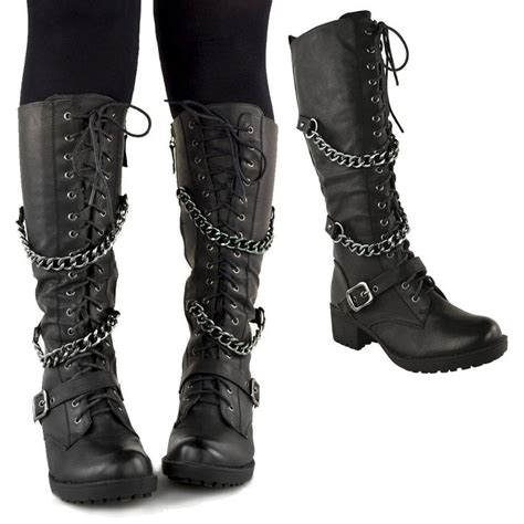 women s lace up biker boots details about ladies womens knee high mid calf lace up