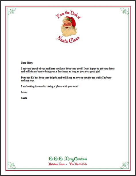 printable letter from santa 2014 best photos of letter from santa stationary template