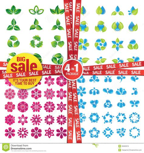 Safira Abstrack Set 4in1 Diskon set of icons on the nature theme royalty free stock photo image 35003015