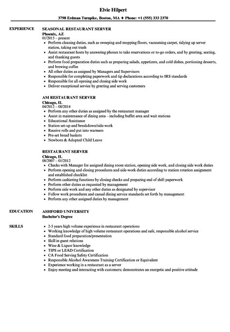 Restaurant Server Resume by Restaurant Server Resume Gallery Cv Letter And