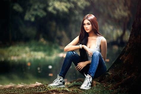 wallpaper hd 1920x1080 hot girl asian women outdoors model sitting redhead