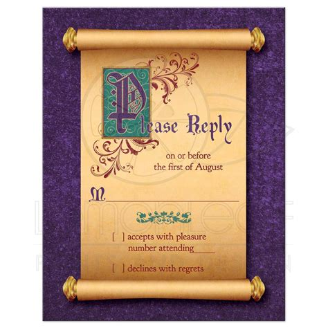 Poster Bingkai Frame Fall Upon fairytale wedding rsvp card scroll once upon a time