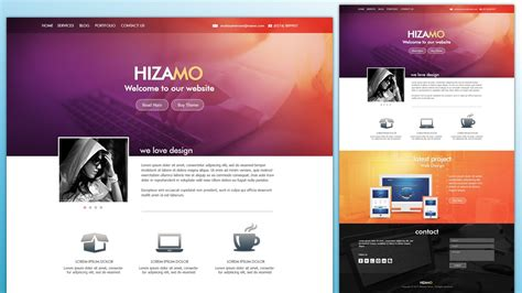 tutorial video website design a hizamo portfolio website in photoshop youtube