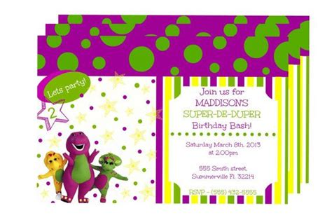 barney invitation template barney invitations invitations ideas