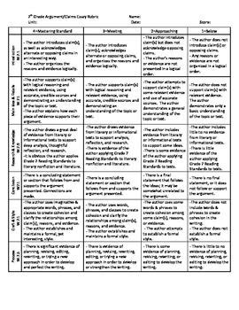 7th grade essay sles 7th grade argument claims writing rubric common