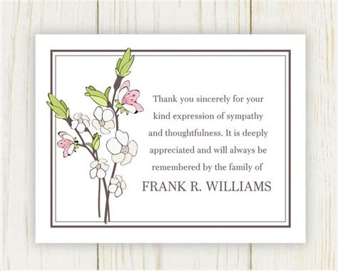 free sympathy thank you card template 9 funeral thank you notes sle templates