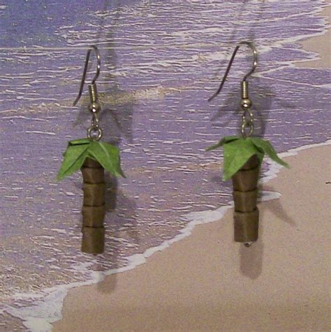 Origami Palm Tree - palm tree origami earrings by creationsbyjessie on deviantart