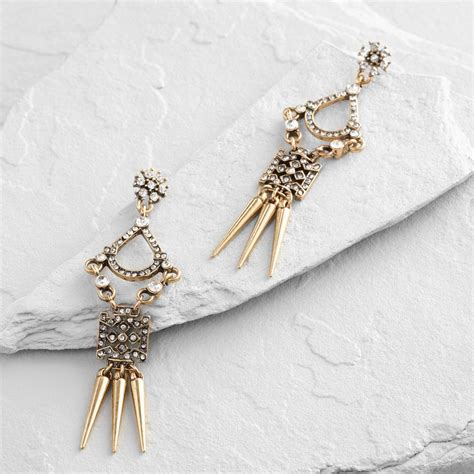 Gold Rhinestone Chandelier Earrings Gold And Rhinestone Chandelier Earrings World Market