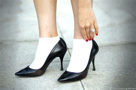 high heels socks crashingred neo classic business chic crashingred