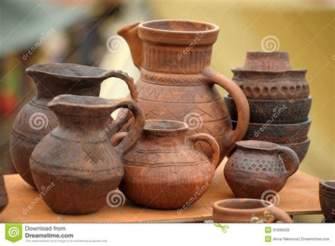 Handmade Clay Pots - handmade clay pots stock image image of cook earth