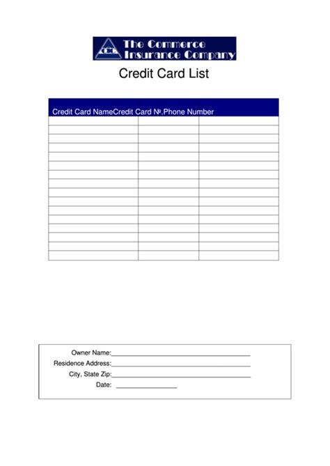 credit card list template printable