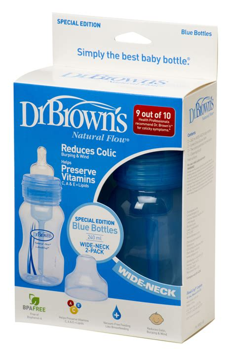 Drbrowns 212 Special Edition Blue Bottles dr browns special edition 240ml wide neck pack bottle 2 colours