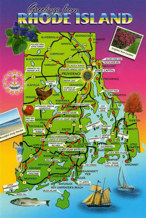 rhode island on map maps rhode island postcard maps