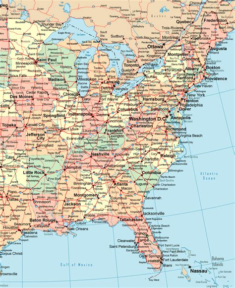 printable united states political map online map of eastern usa political detail