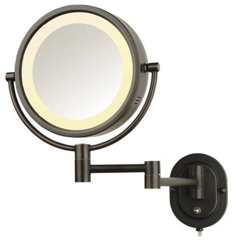 jerdon hl65bz 8 quot wall mount halo lighted mirror in bronze